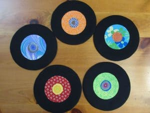 record coaster with label