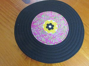 record coaster with quilting